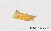 Political Shades Panoramic Map of Bornholm, cropped outside