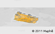Political Shades Panoramic Map of Bornholm, desaturated