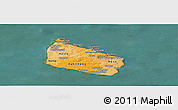Political Shades Panoramic Map of Bornholm, satellite outside