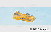 Political Shades Panoramic Map of Bornholm, shaded relief outside