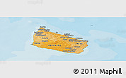 Political Shades Panoramic Map of Bornholm, single color outside