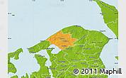 Political Map of Helsinge, physical outside