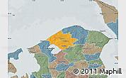 Political Map of Helsinge, semi-desaturated