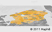 Political Shades Panoramic Map of Frederiksborg, desaturated