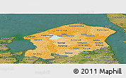 Political Shades Panoramic Map of Frederiksborg, satellite outside