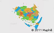 Political 3D Map of Fyn, cropped outside