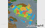 Political 3D Map of Fyn, darken