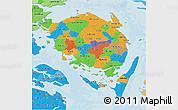 Political 3D Map of Fyn, political shades outside