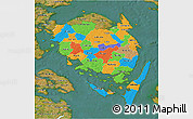 Political 3D Map of Fyn, satellite outside