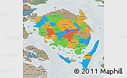 Political 3D Map of Fyn, semi-desaturated