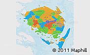 Political 3D Map of Fyn, single color outside