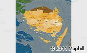 Political Shades 3D Map of Fyn, darken