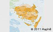 Political Shades 3D Map of Fyn, lighten
