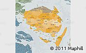 Political Shades 3D Map of Fyn, semi-desaturated