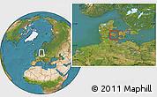Satellite Location Map of Arslev