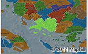Political 3D Map of Faaborg, darken