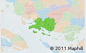 Political 3D Map of Faaborg, lighten