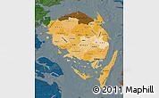 Political Shades Map of Fyn, darken