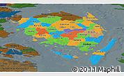 Political Panoramic Map of Fyn, darken