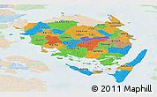 Political Panoramic Map of Fyn, lighten