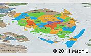 Political Panoramic Map of Fyn, semi-desaturated