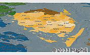 Political Shades Panoramic Map of Fyn, darken
