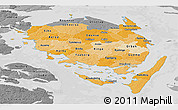 Political Shades Panoramic Map of Fyn, desaturated