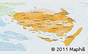 Political Shades Panoramic Map of Fyn, lighten