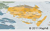 Political Shades Panoramic Map of Fyn, semi-desaturated
