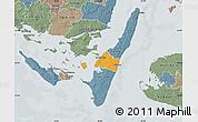 Political Map of Rudkobing, semi-desaturated