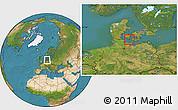 Satellite Location Map of Sydlangeland