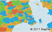 Political 3D Map of Kobenhavn