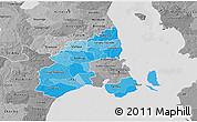 Political Shades 3D Map of Kobenhavn, desaturated