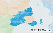 Political Shades 3D Map of Kobenhavn, lighten