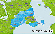 Political Shades 3D Map of Kobenhavn, physical outside