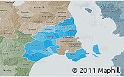 Political Shades 3D Map of Kobenhavn, semi-desaturated