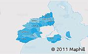 Political Shades 3D Map of Kobenhavn, single color outside