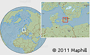 Savanna Style Location Map of Albertslund, hill shading