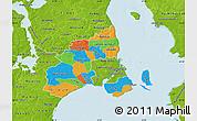 Political Map of Kobenhavn, physical outside
