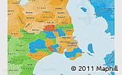Political Map of Kobenhavn, political shades outside