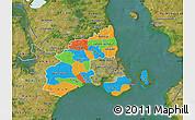 Political Map of Kobenhavn, satellite outside