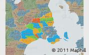 Political Map of Kobenhavn, semi-desaturated