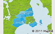 Political Shades Map of Kobenhavn, physical outside