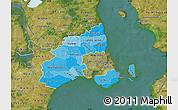 Political Shades Map of Kobenhavn, satellite outside