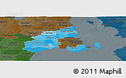 Political Shades Panoramic Map of Kobenhavn, darken