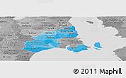 Political Shades Panoramic Map of Kobenhavn, desaturated
