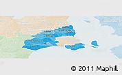 Political Shades Panoramic Map of Kobenhavn, lighten