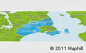 Political Shades Panoramic Map of Kobenhavn, physical outside