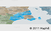 Political Shades Panoramic Map of Kobenhavn, semi-desaturated