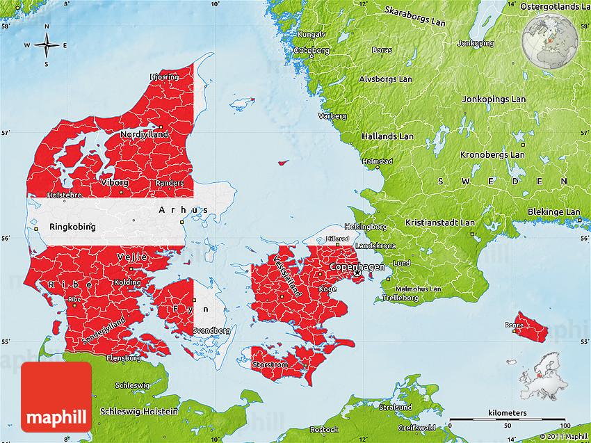 Flag Map Of Denmark Physical Outside - Denmark map